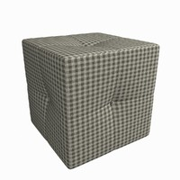 square plaid pouf 3d model