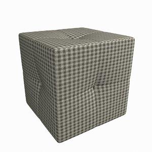 square plaid pouf 3d model