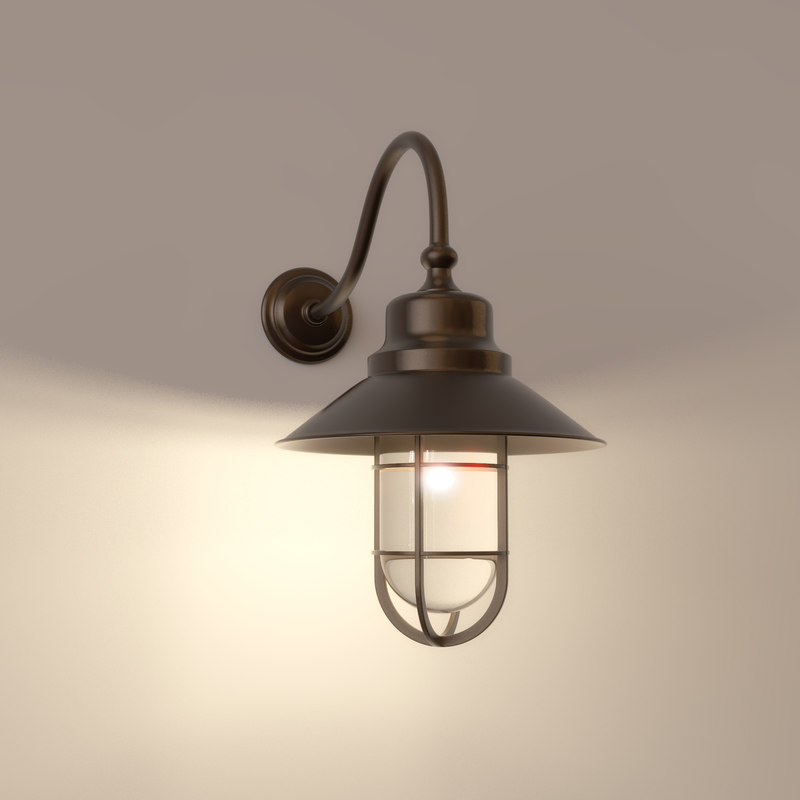 old fashioned wall light 3d obj