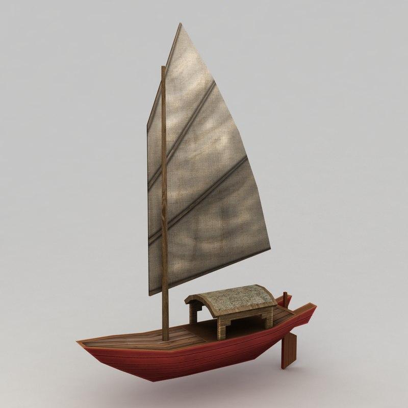 3d model junk boat