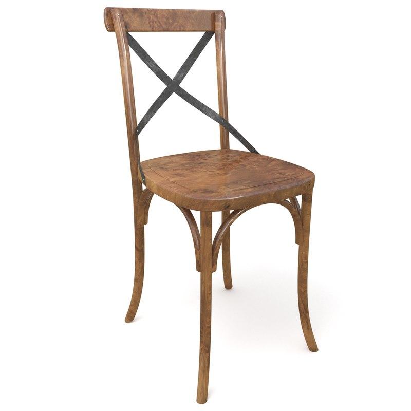 3d model rustic antique chair