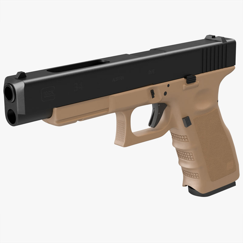 glock 34 brown 3d model