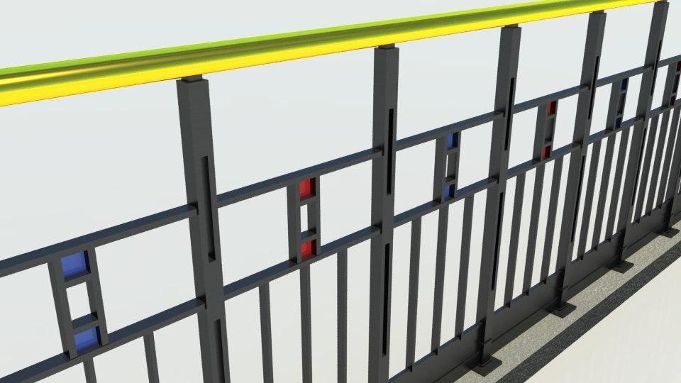 modern iron fence 3d model