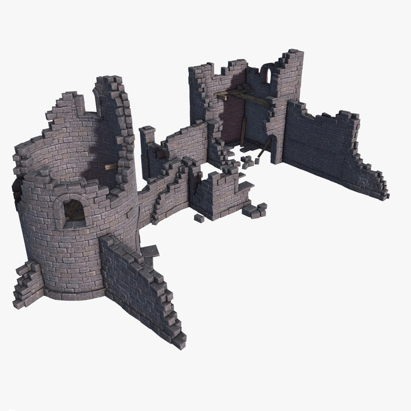 medieval castle ruins 3d model