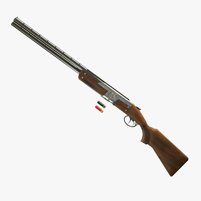ready low-poly shotgun pbr 3d obj
