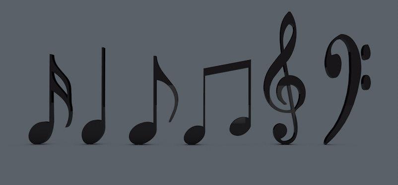 3d model musical notes