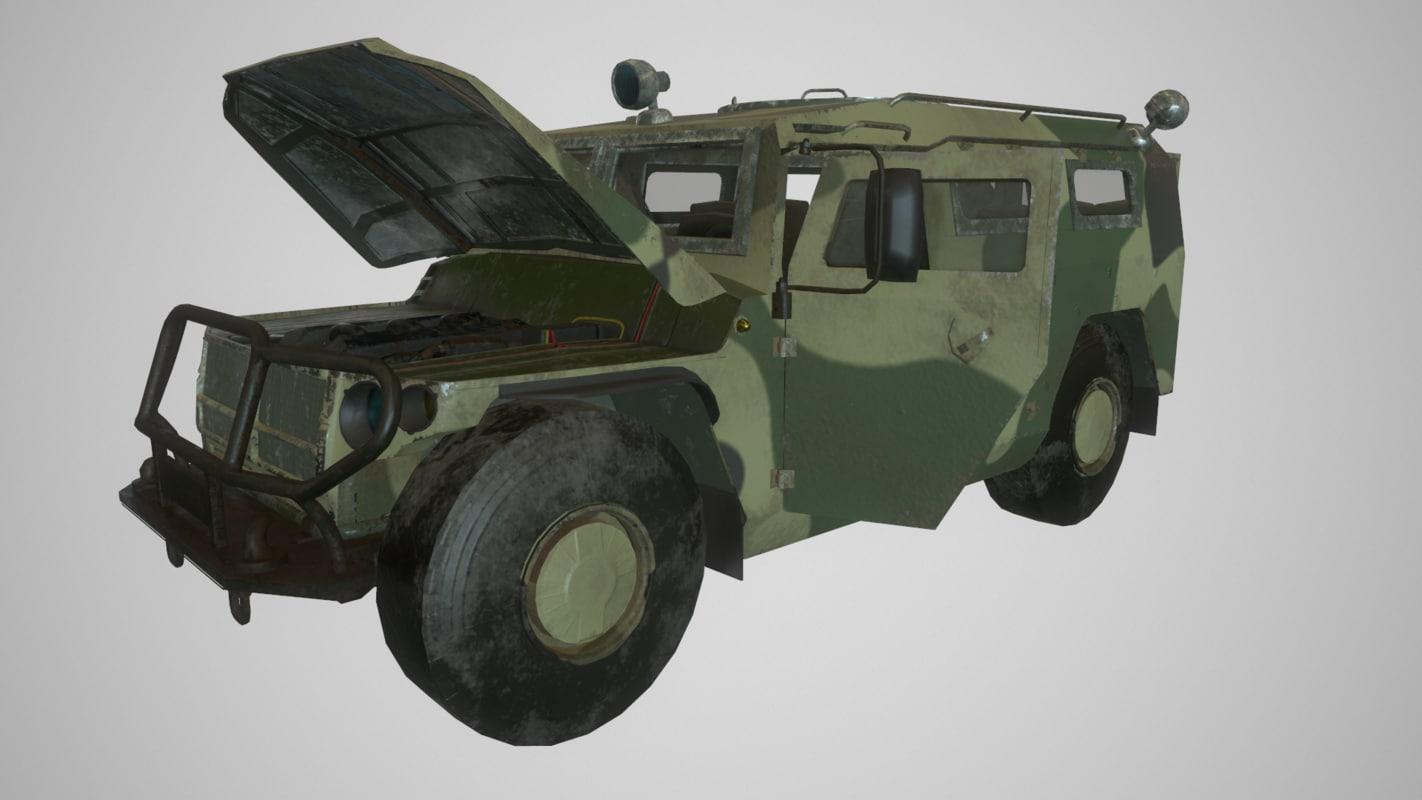 3d model ready gaz tiger