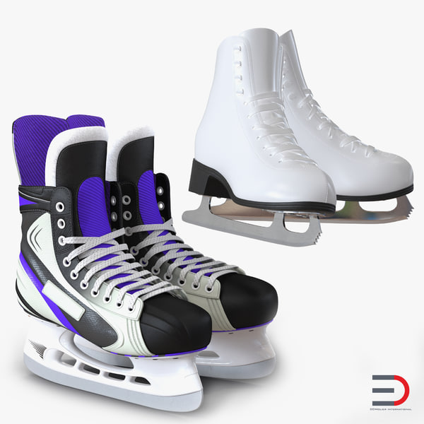 3d model ice skates hockey