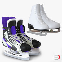 3d model ice skates hockey