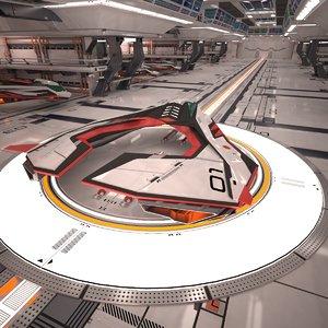 sci-fi spaceship hangar 3d max