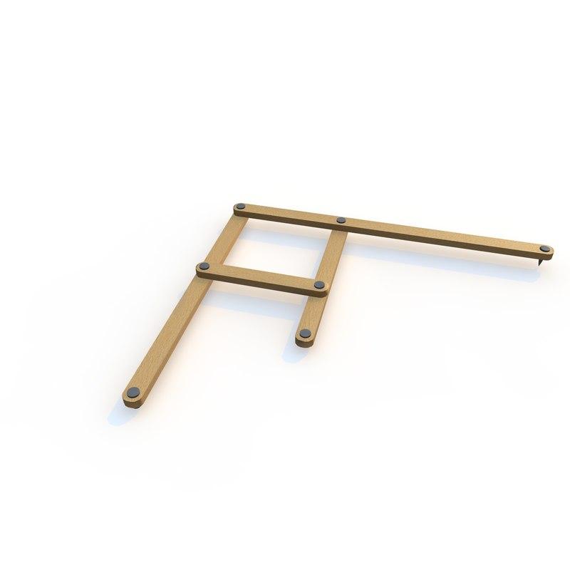 3d model realistic wooden pantograph beech wood
