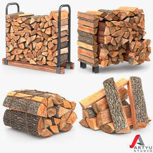 3d firewood stack set