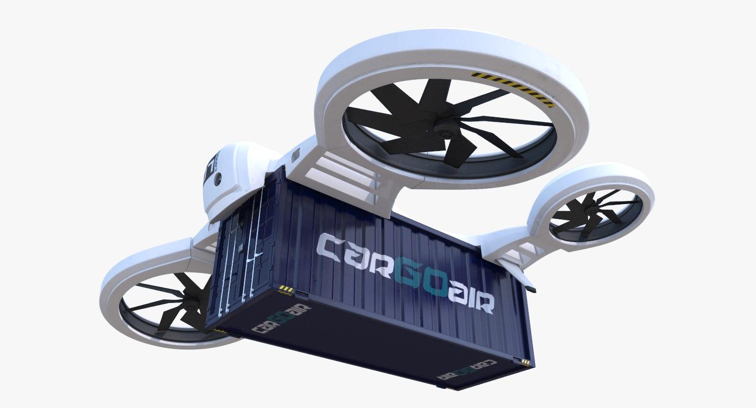 3d heavy cargo quadrocopter drone