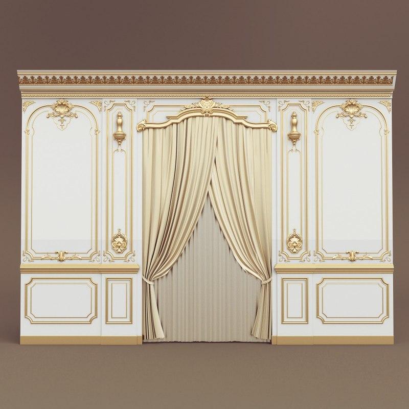 3d belloni boiserie wall panel model