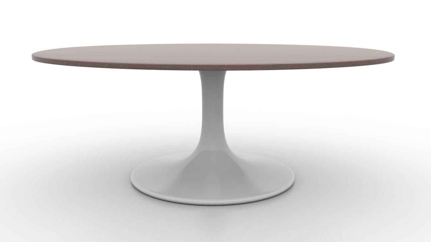 walnut veneer coffee table 3d model