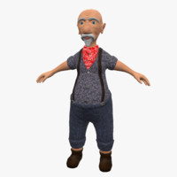 old man cartoon 3d model