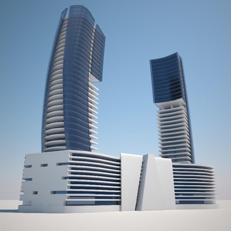 c4d futuristic building