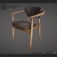 old leather chair 3d obj