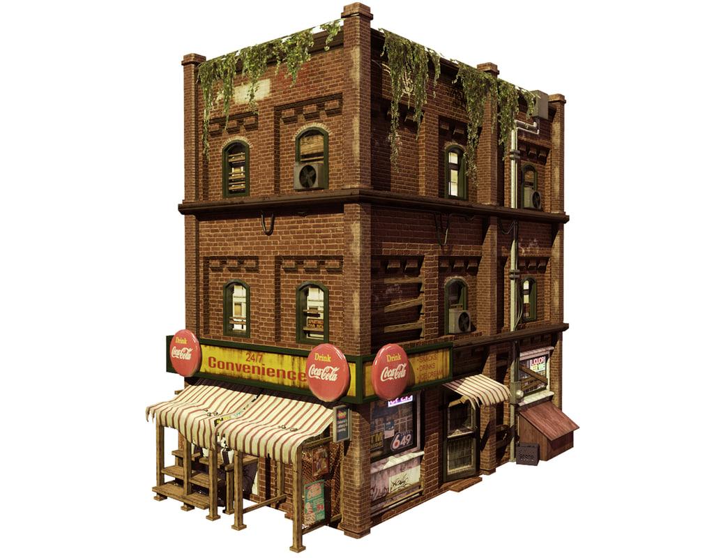 rundown store 3d model