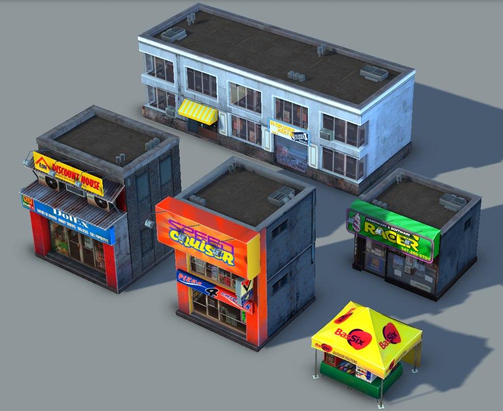 3d set small stores - model