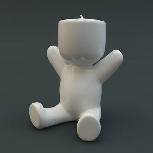 porcelain statuette candle 3d ma