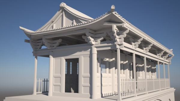 3d chinese temple bridge