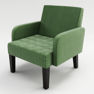 3d model modern chair green white