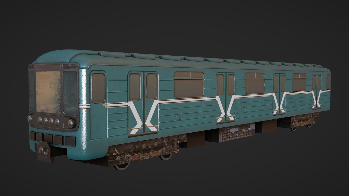 3d model of soviet subway train