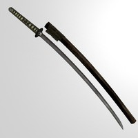 3d model historical katana
