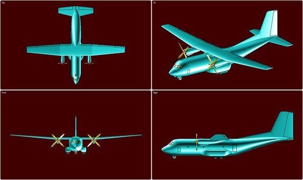 3d c-160 transall transport aircraft model