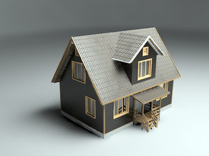 3d realistic country house model