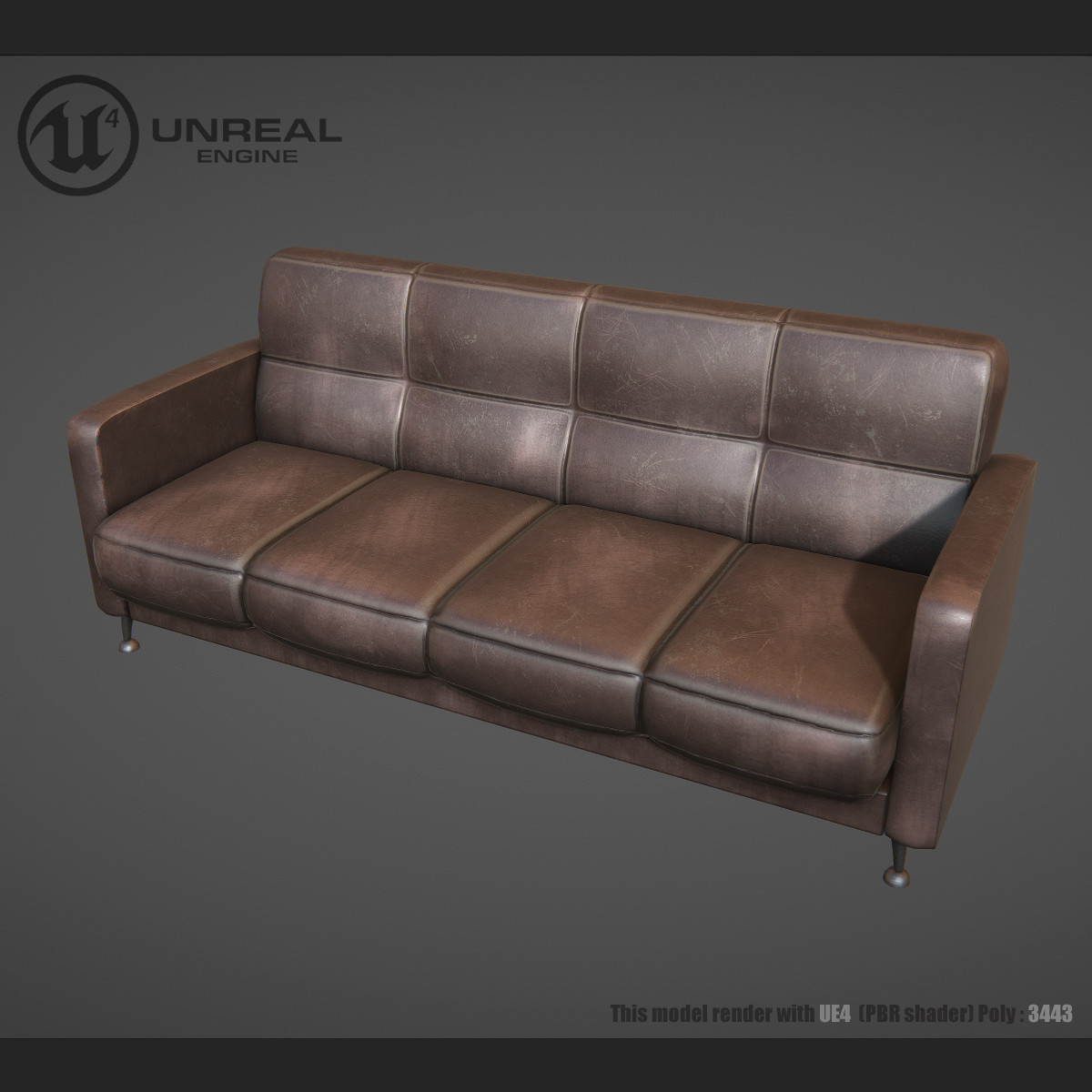 old leather sofa 3d max