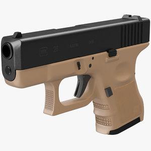 3d glock 26 brown