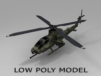 3d low-poly ah 1 viper model