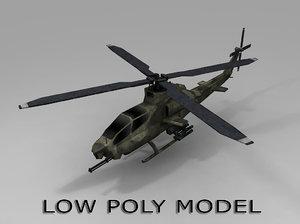 3d low-poly ah 1 viper model