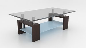 3d coffee table venge tempered