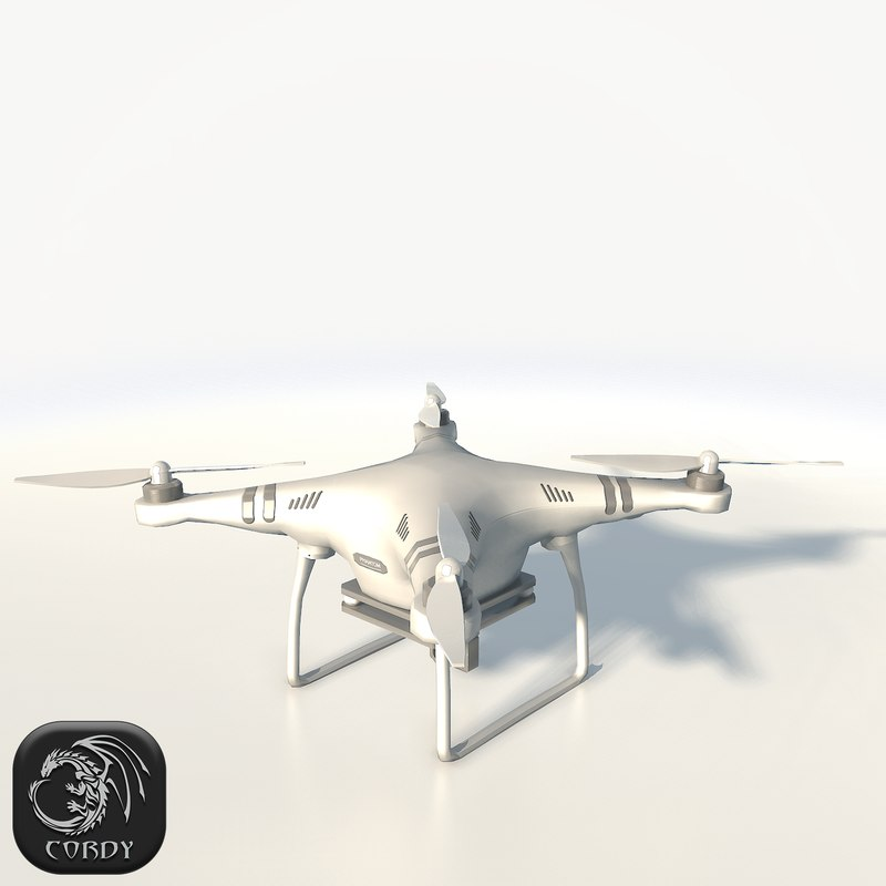 3d model of dji phantom 3 quadcopter
