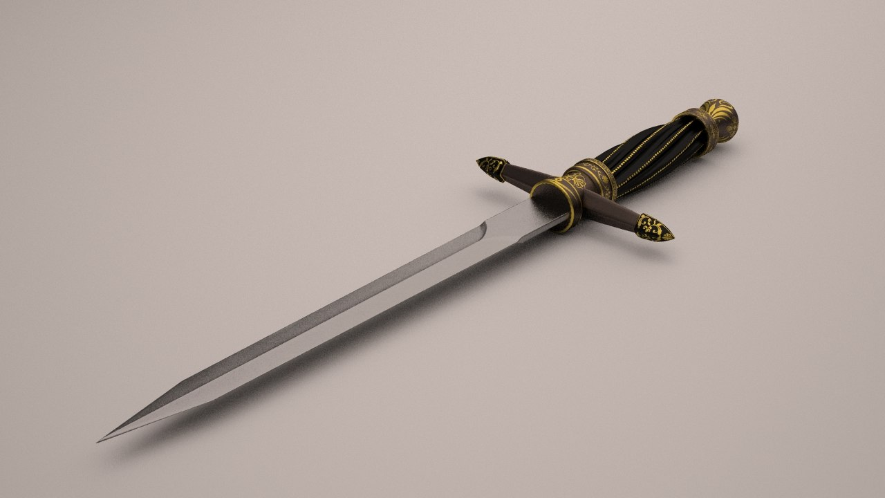 3d medieval dagger model
