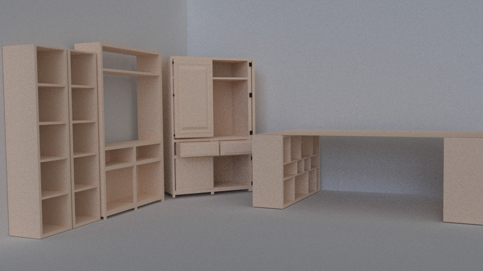 3d model furniture armoire shelves