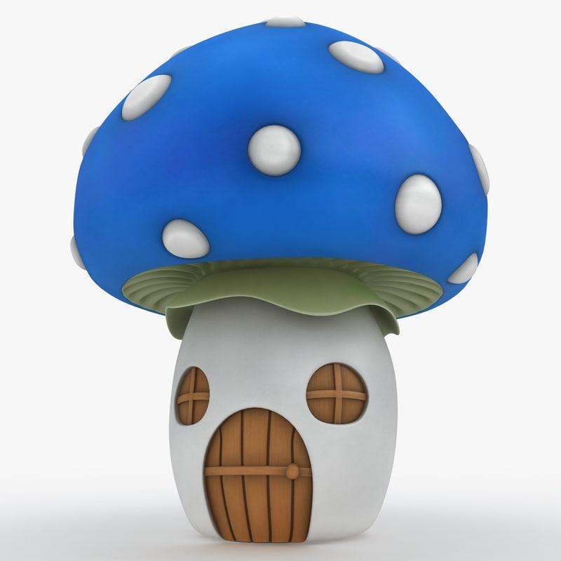 3d mushroom house blue