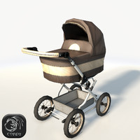 Baby carriage (Pram) low poly