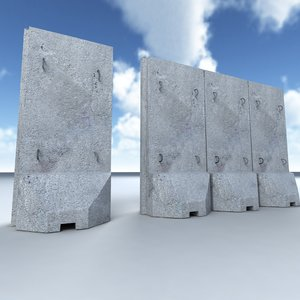 t-wall barrier 3d model