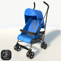 Baby stroller low poly