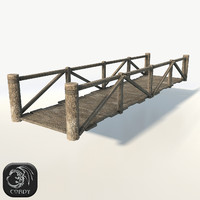 Wooden modular bridge low poly