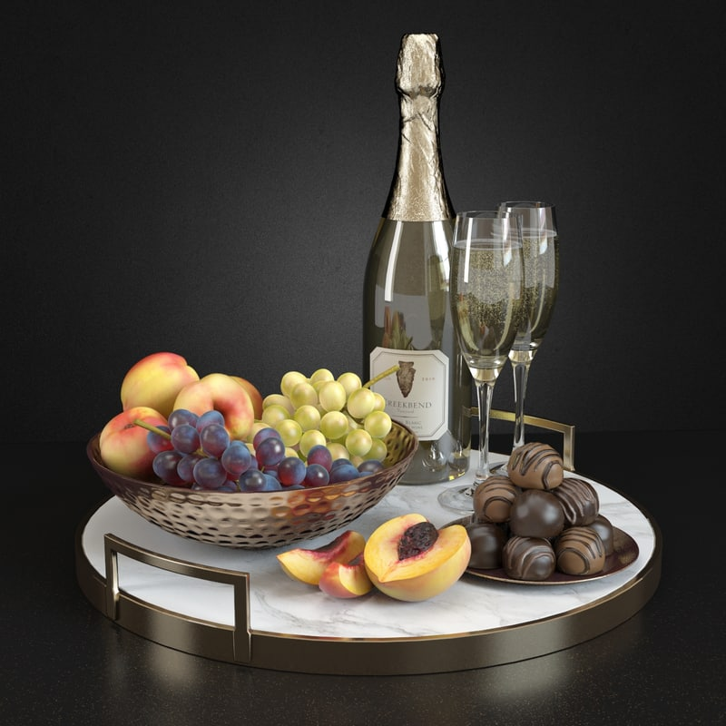3d model of champagne fruits
