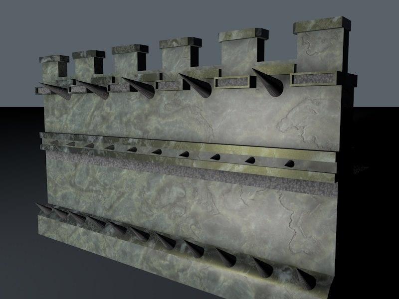 archer wall spikes 3d c4d