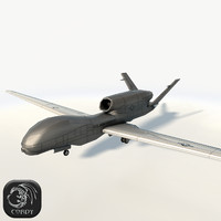3d global hawk fighter drone uav model
