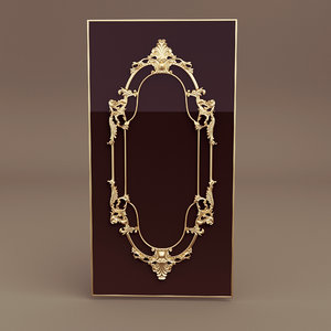 3d akira gold baroque mirror model