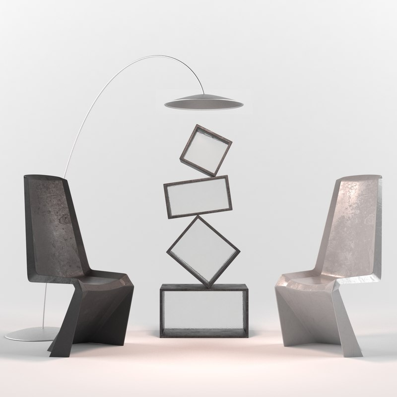 3d set chairs shelf model