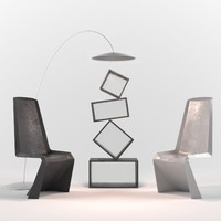3d set chairs shelf model